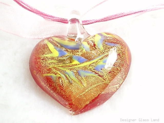 P511 MURANO GLASS RED HEART PENDANT NECKLACE, FREE SHIPPING!!!