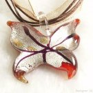 P521 MURANO LAMPWORK GLASS BUTTERFLY PENDANT NECKLACE, FREE SHIPPING!!!