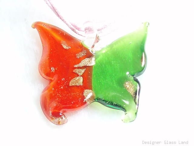 P522 MURANO LAMPWORK GLASS BUTTERFLY PENDANT NECKLACE, FREE SHIPPING!!!