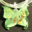P525 MURANO LAMPWORK GLASS BUTTERFLY PENDANT NECKLACE, FREE SHIPPING!!!