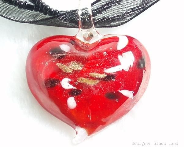 P527 MURANO LAMPWORK GLASS FIRE HEART PENDANT NECKLACE, FREE SHIPPING!!!