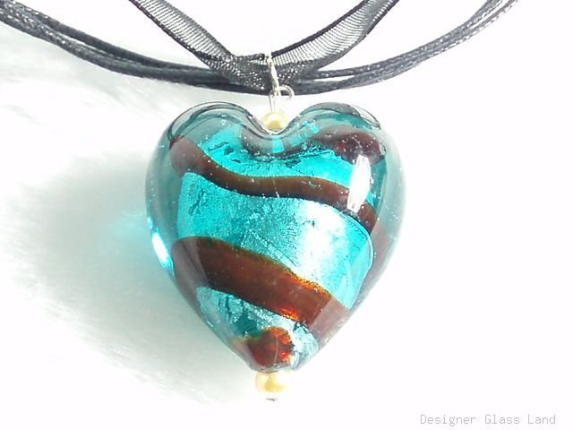 P534 MURANO GLASS DARK GREEN HEART PENDANT NECKLACE, FREE SHIPPING!!!