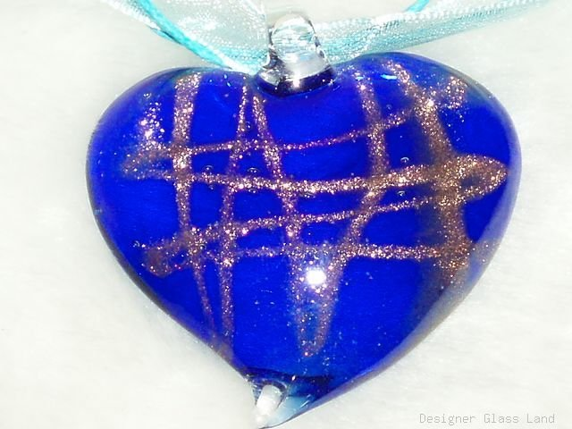 P536 MURANO GLASS NAVY HEART PENDANT NECKLACE, FREE SHIPPING!!!