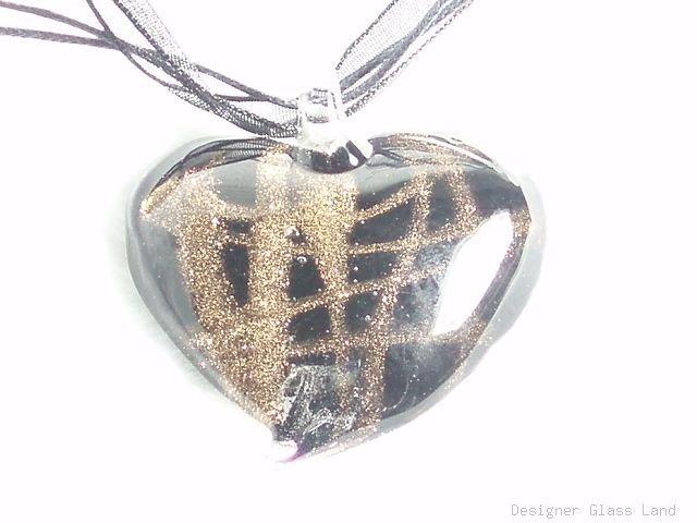 P538 MURANO LAMPWORK GLASS BLACK HEART PENDANT NECKLACE, FREE SHIPPING!!!