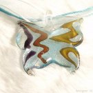 P540 MURANO GLASS VIVID BUTTERFLY PENDANT NECKLACE, FREE SHIPPING!!!