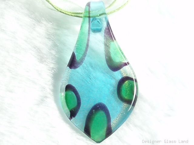 P548 MURANO LAMPWROK GLASS BLUE LEAF PENDANT NECKLACE, FREE SHIPPING!!!