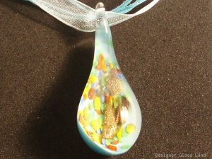 P554 MURANO LAMPWORK GLASS BLUE DROP PENDANT NECKLACE, FREE SHIPPING!!!
