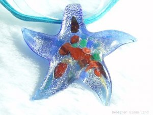 P562 MURANO LAMPWORK GLASS BLUE STAR PENDANT NECKLACE, FREE SHIPPING!!!