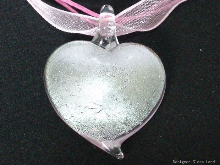 P569 MURANO GLASS SWEET PINK HEART PENDANT NECKLACE, FREE SHIPPING!!!