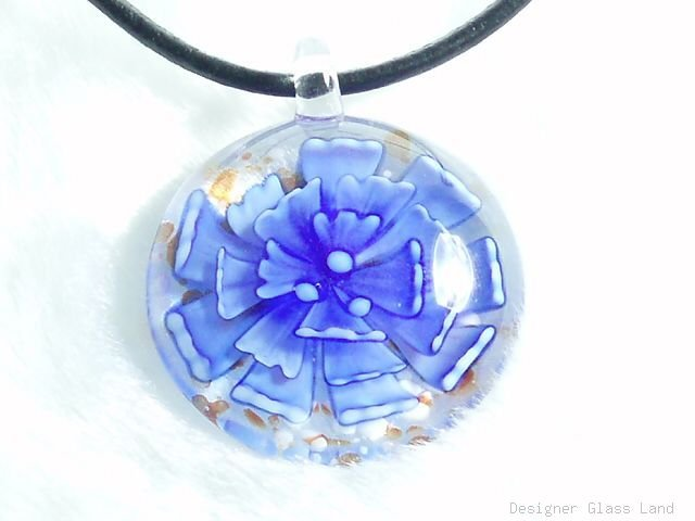 P586 MURANO GLASS PENDANT NAVY ROUND FLOWERS NECKLACE, FREE SHIPPING!!!