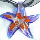 P593 MURANO GLASS PENDANT GOLDEN NAVY STAR NECKLACE, FREE SHIPPING!!!