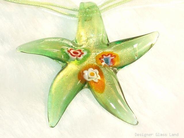P594 MURANO GLASS PENDANT GRN MILLEFIORI STAR NECKLACE, FREE SHIPPING!!!