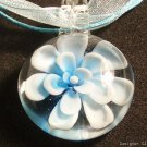 P604 MURANO GLASS BLUE FLOWER ROUND PENDANT NECKLACE, FREE SHIPPING!!!