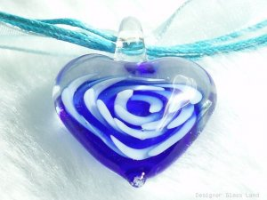 P612 MURANO GLASS NAVY HEART PENDANT NECKLACE, FREE SHIPPING!!!
