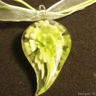 P617 MURANO GLASS GREEN FLOWER PENDANT NECKLACE, FREE SHIPPING!!!