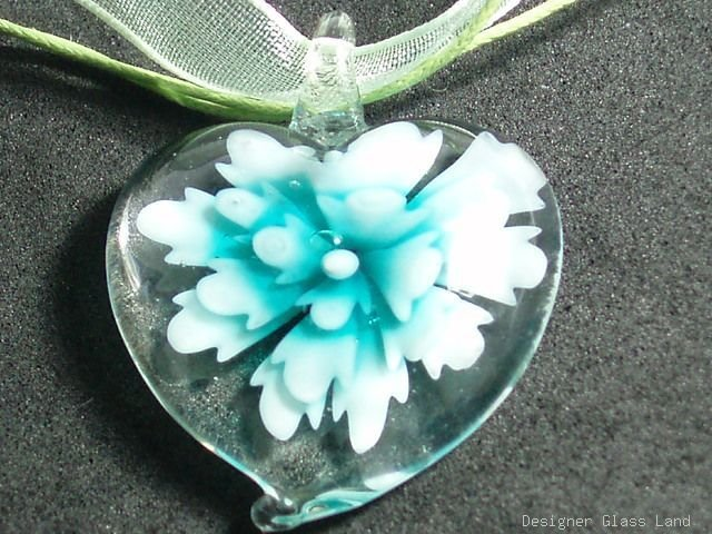 P619 MURANO GLASS GREEN FLOWER HEART PENDANT NECKLACE, FREE SHIPPING!!!