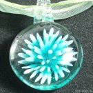 P621 MURANO GLASS GREEN ROUND PENDANT NECKLACE, FREE SHIPPING!!!