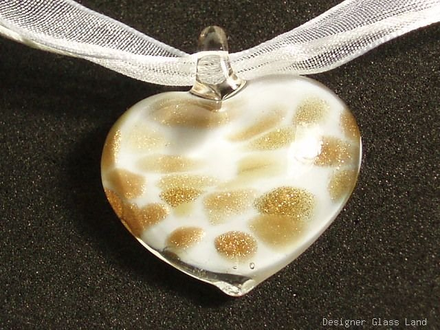 P622 MURANO GLASS SNOW WHITE HEART PENDANT NECKLACE, FREE SHIPPING!!!