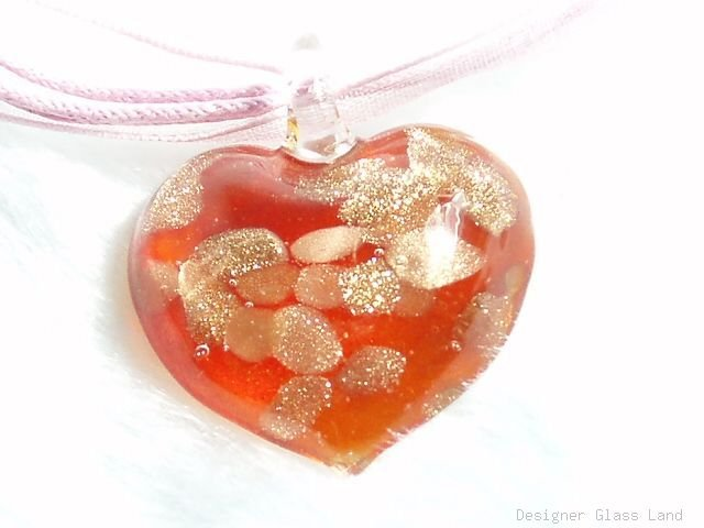 P624 MURANO GLASS RED HEART PENDANT NECKLACE, FREE SHIPPING!!!