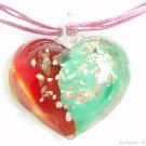 P627 MURANO GLASS PENDANT NECKLACE RED/GREEN HEART, FREE SHIPPING!!!