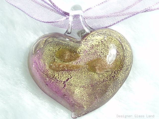 P628 MURANO GLASS PENDANT NECKLACE GOLDEN PURPLE HEART, FREE SHIPPING!!!