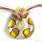 P632 MURANO GLASS GOLDEN BROWN DROP PENDANT NECKLACE, FREE SHIPPING!!!