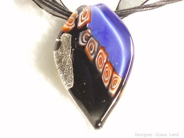 P636 MURANO GLASS BLACK NAVY LEAF PENDANT NECKLACE, FREE SHIPPING!!!
