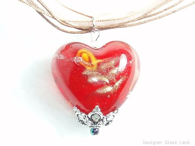 P637 MURANO GLASS HEART PENDANT NECKLACE RED, FREE SHIPPING!!!