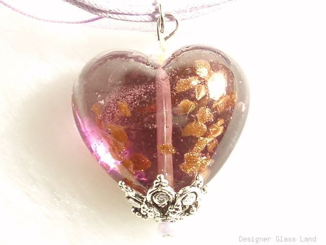 P638 MURANO GLASS LAVENDER HEART PENDANT NECKLACE, FREE SHIPPING!!!