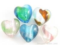 GQ003 LOT 10PCS*20MM LAMPWORK GLASS HEART BEADS DIY  **FREE SHIPPING**
