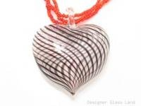 P962 HANDCRAFT BLOWN MURANO GLASS HEART PENDANT BEADS NECKLACE