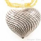 P964 HUGE BLOWN GLASS HEART PENDANT BEADS NECKLACE  **FREE SHIPPING**