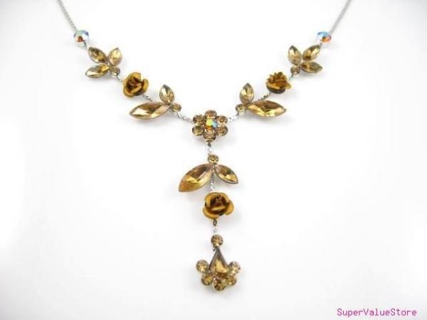 SS006 Elegant Golden Crystal Flower Silver Tone Necklace Earrings Set Best for Gift