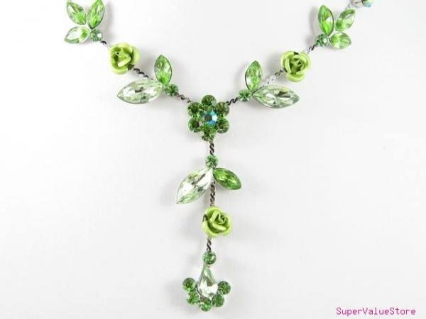 SS011 Elegant Green Crystal Flower Silver Tone Necklace Earrings Set Best for Gift