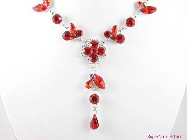 SS012 Elegant Ruby Austrian Crystal Flower Silver Tone Necklace Earrings Set Best for Gift