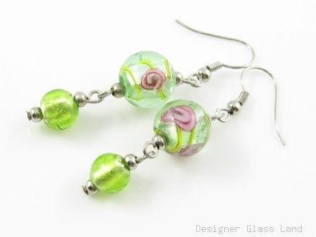 ER002 Murano Lampwork Glass Green Dangle Silver Earrings