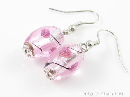 ER003 ***MURANO STYLE*** Lampwork Glass Pink Rose Dangle Silver Earrings