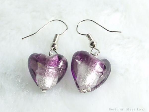 ER019 ***MURANO STYLE*** Lampwork Glass Lavender Silver Earrings