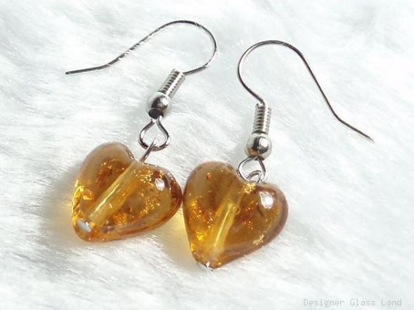ER024 ***MURANO STYLE*** Lampwork Glass Golden Brown Earrings
