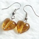 ER024 ***MURANO STYLE*** Lampwork Glass Golden Brown Earrings