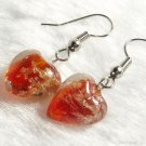 ER027 Lampwork Glass Red Heart Earrings