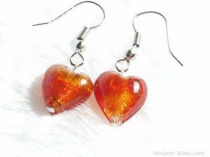 ER028 Lampwork Glass Red Heart Earrings