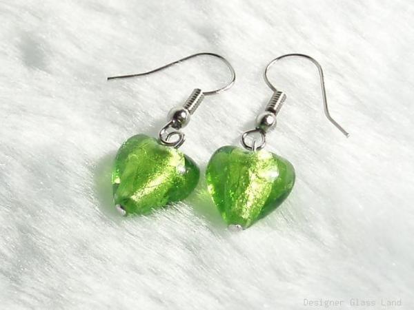 ER030 Lampwork Glass Green Heart Earrings