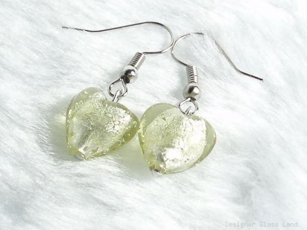 ER033 Murano Lampwork Glass Topaz Heart Earrings
