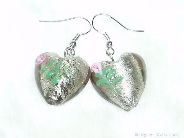 ER052 Lampwork Glass Smoky Rose Heart Dangle Earrings