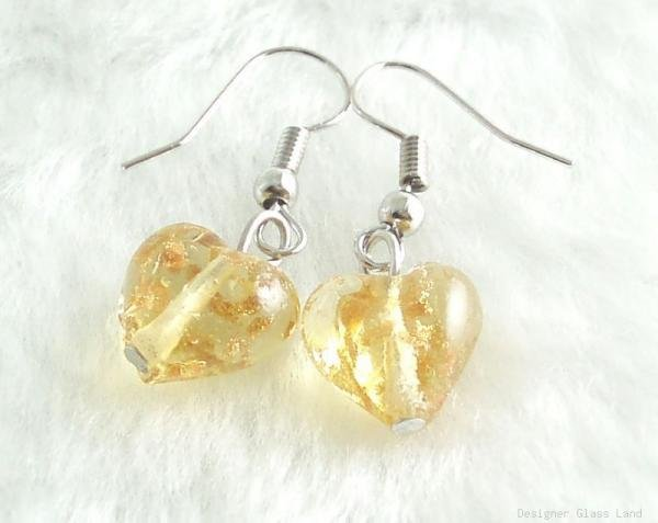 ER063 Lampwork Glass Topaz Rose Heart Silver Earrings