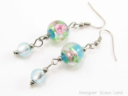 ER068 Lampwork Glass Blue Round Dangle Silver Earrings