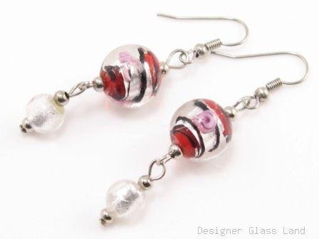 ER070 Lampwork Glass Red Round Dangle Silver Earrings