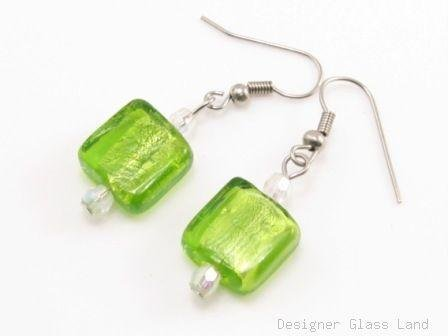 ER071 Lampwork Glass Green Grid Dangle Silver Earrings
