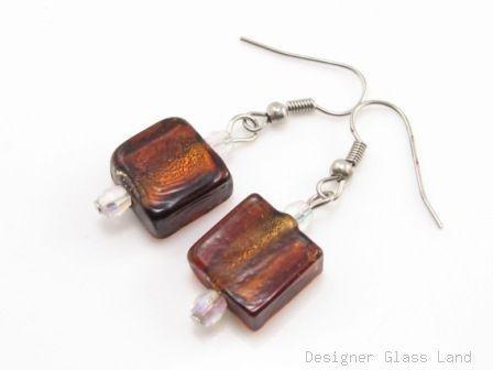 ER074 Lampwork Glass Chocolate Brown  Grid Dangle Silver Earrings